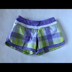 Lululemon athletic shorts plaid yellow lavender
